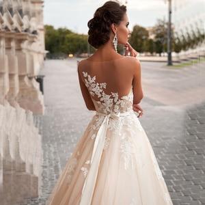 Image 3 - Simple Elegant Amanda Novias Lace A Line Wedding Dress With Belt 2019