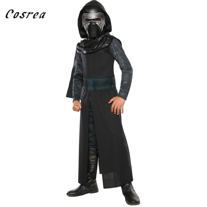 Star Wars Plastic Face Black Mask Cloak Belt Wide Leg Pants Suits Classic Sport Cosplay Clothing Kids Halloween Movie Costumes