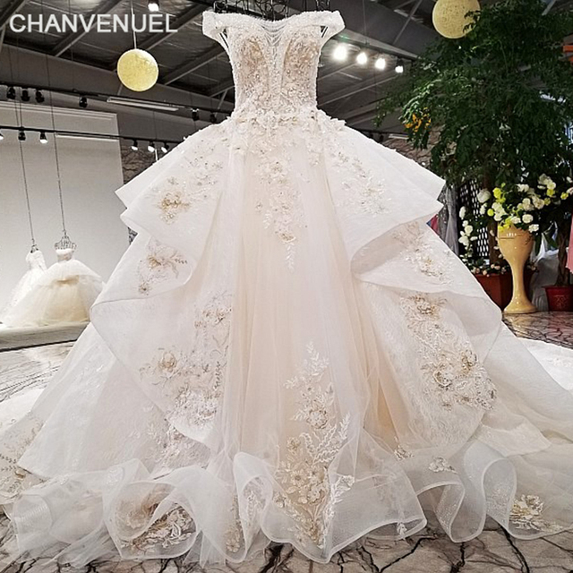 LS32114-1 super big skirt design bridal gowns organza fabric colorful lace  off shoulder chagmpagne lace slub wedding dress 2018 2cee4827c3ca