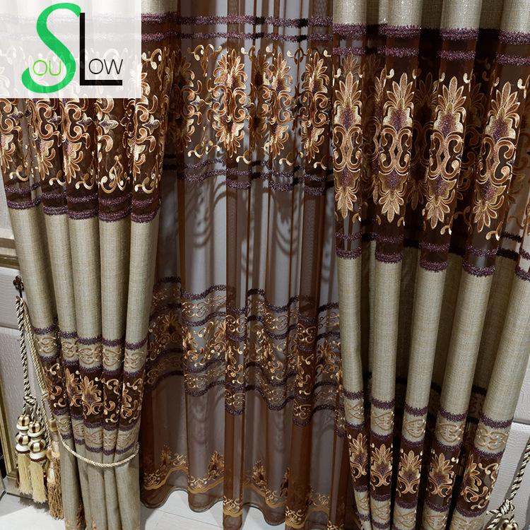 Slow soul coffee european style linen embroidered curtain - European style curtains for living room ...