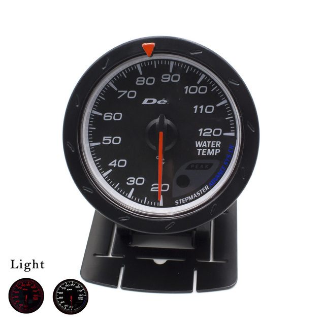 60MM D*FI CR Water temp gauge Black Face with White & Red Lighting water temperature gauge with water temperature sensor car