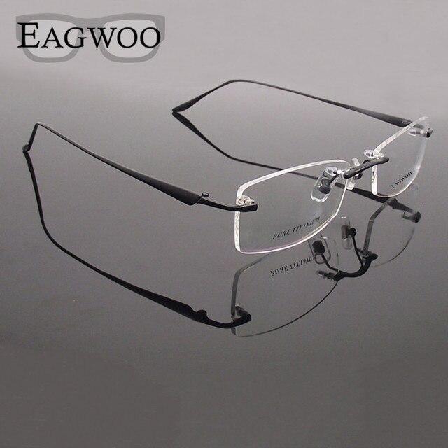 Titanium Очки Без Оправы Оптически Рамки Рецепт Зрелище Бескаркасных Очки Для Мужчин Супер Свет Очки Очки 810592