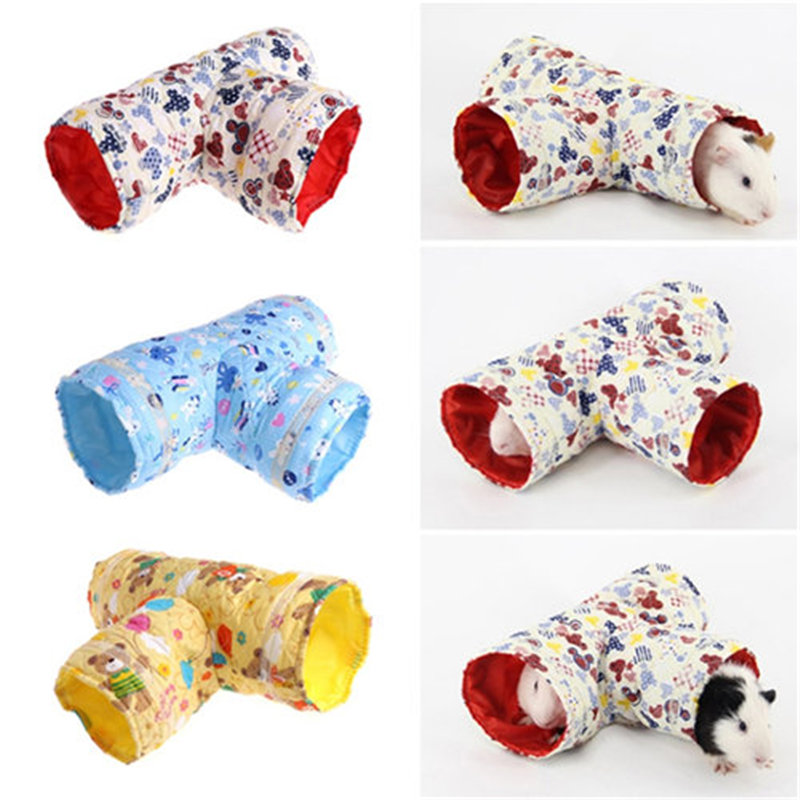 Funny Hamster Tunnel Toy Small Pet Cartoon Cloth Tunnel 3 Ways Pet Tubes Bed Nest For Rabbits Ferrets Guinea Pigs Pets Toy