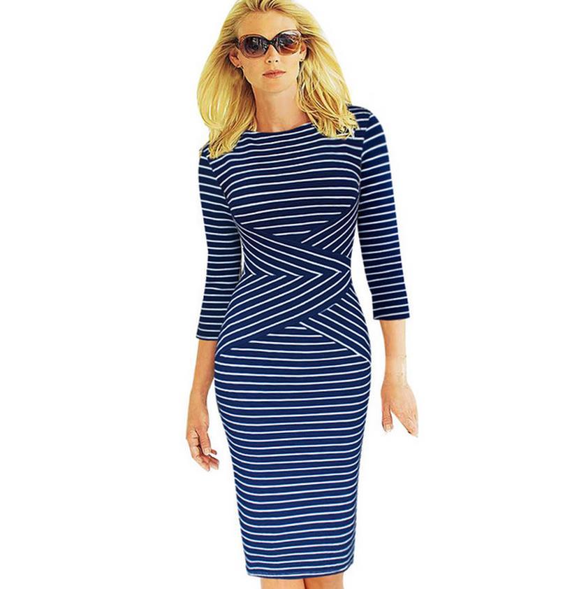 New Sale Dresses Womens Elegant New Colorblock Striped Dot Tunic