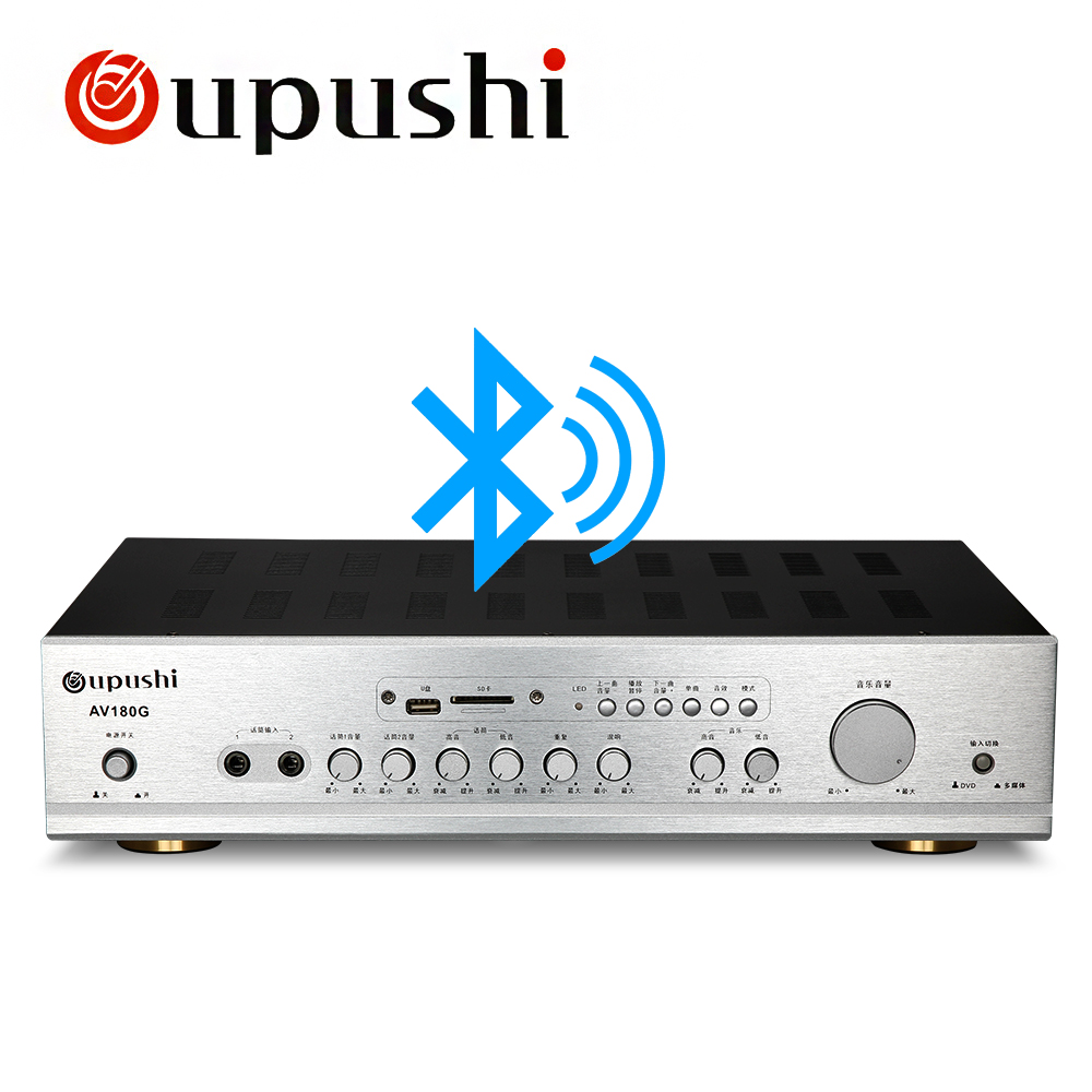 Amplificateur Bluetooth USB Home cinéma oupush 2 canaux 180 W + 180 W karaoké à domicile amplificateur stéréo Audio numérique KTV avec USB, carte SD