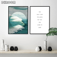 Surfer Posters Wall Art Print Ocean Beach Waves Coastal Canvas Painting Inspirational Quote Surfing Gift Picture Decoration