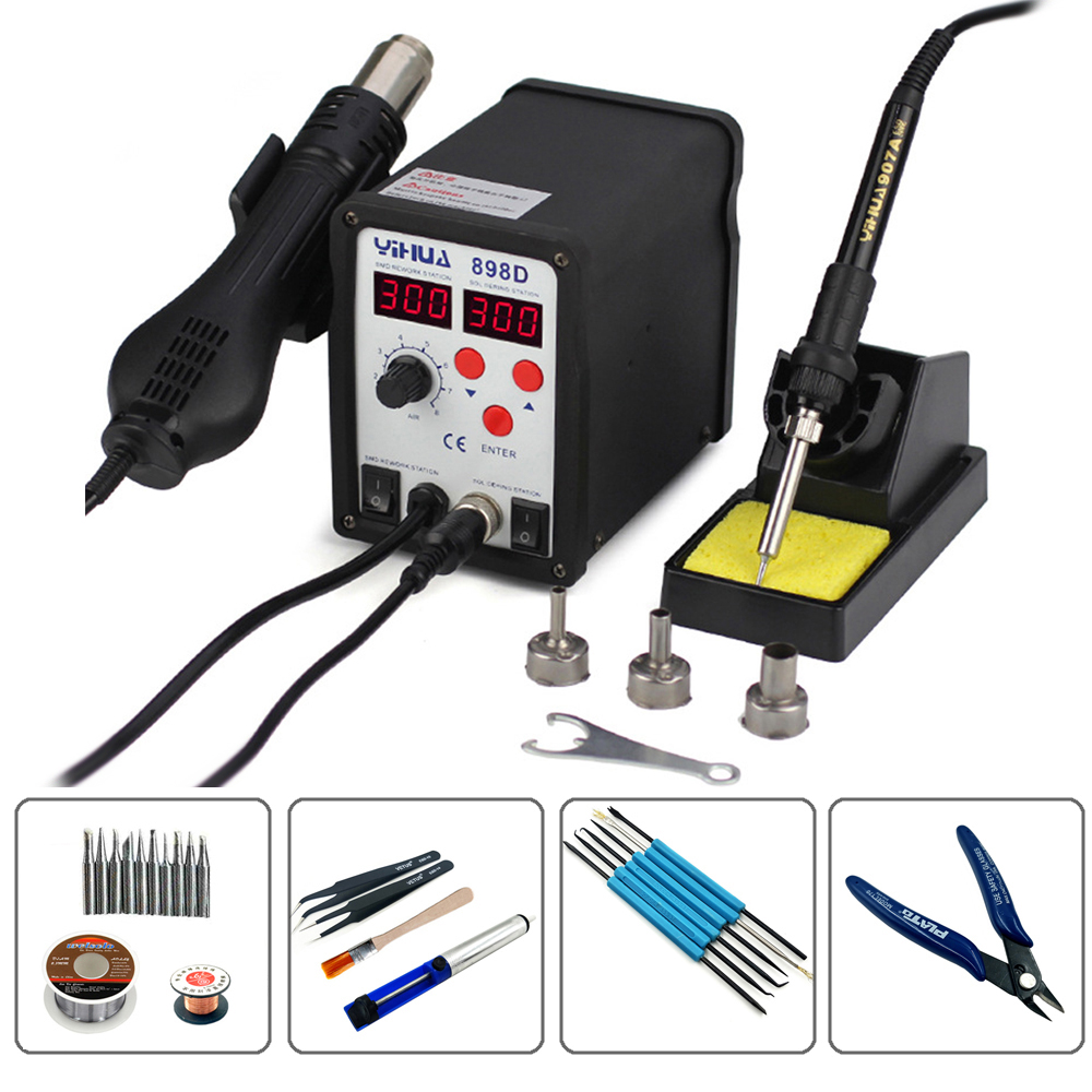 YIHUA 898D 2 in1 700W Lead Free SMD Desoldering Soldering Station Digital Rework Station And Hot