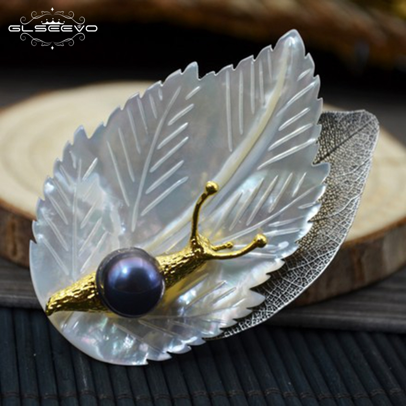 GLSEEVO Natural Fresh Water Gray Pearl Shell Leaf Snail Brooch Pins And Brooches For Women Dual Use Luxury Fine Jewellery GO0111 glseevo natural rhodochrosite fresh water pearl leaf brooch pins and brooches for women gift dual use luxury fine jewelry go0185