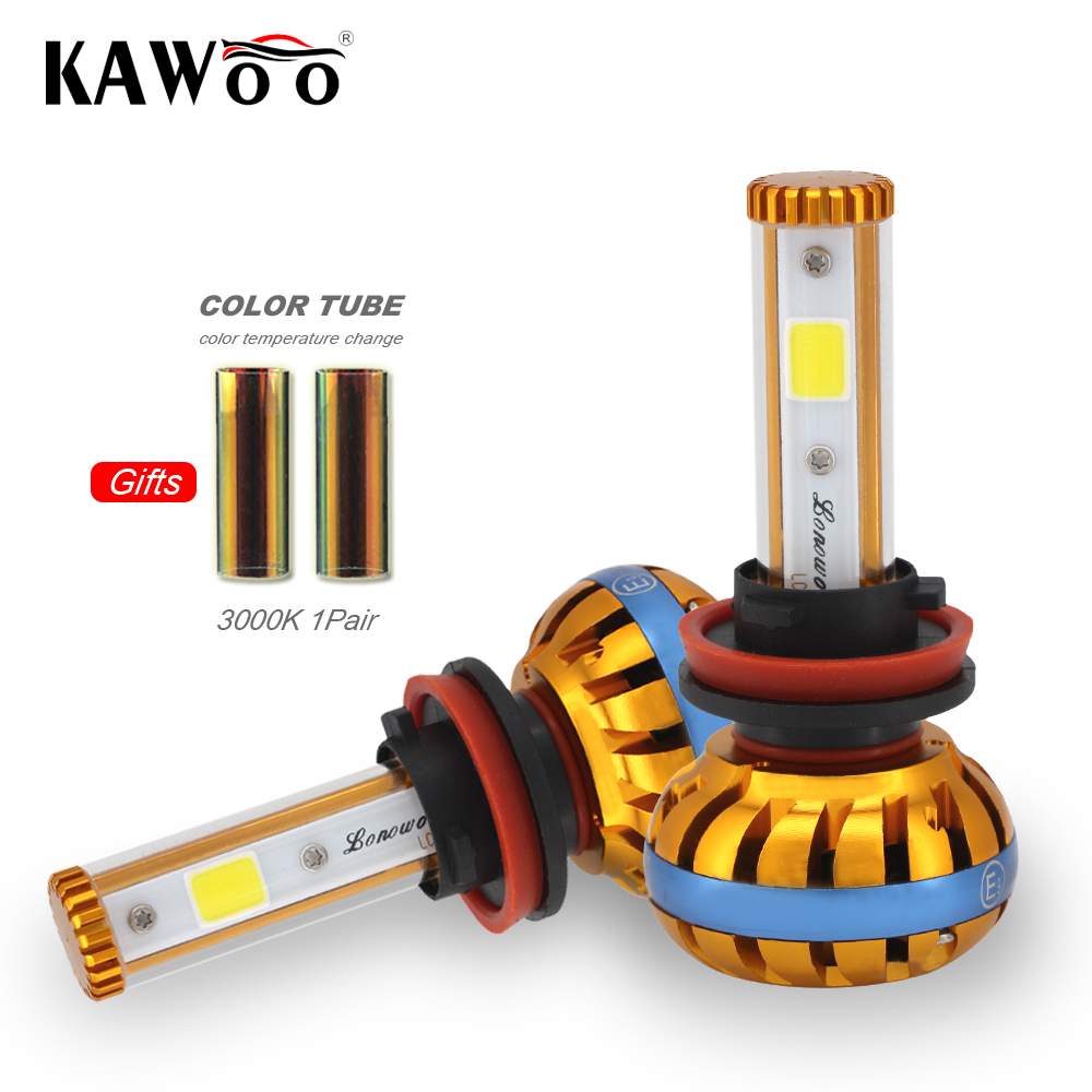 KAWOO H8/H9/H11 LED Car Headlight Bulb lonowo Chips 72W 8000LM per Pair 6500K and 3000K Auto Headlamp Light H4 Car Bulbs 8 6609107 9 filters beads and chips mr li