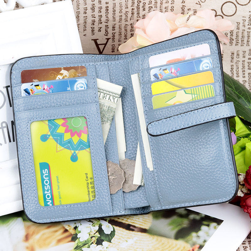 COMFORSKIN Women Wallet 100 Premium Cow Leather Classical Litchi Pattern 2018 Vertical Style Short Bi fol Female Business Purse in Wallets from Luggage Bags