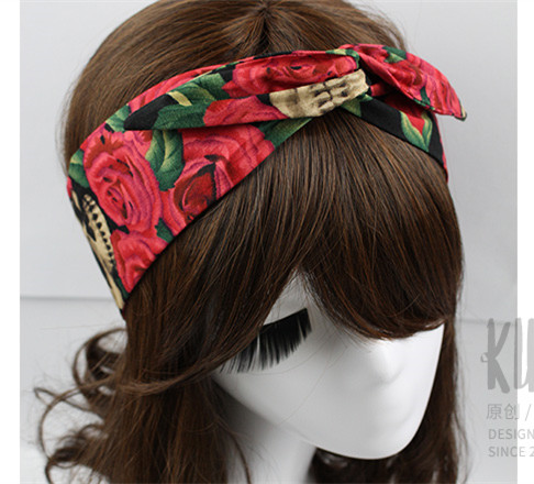 women vintage 50s skull rose print rockabilly pin up hair accessories bandana bandeau cheveux. Black Bedroom Furniture Sets. Home Design Ideas
