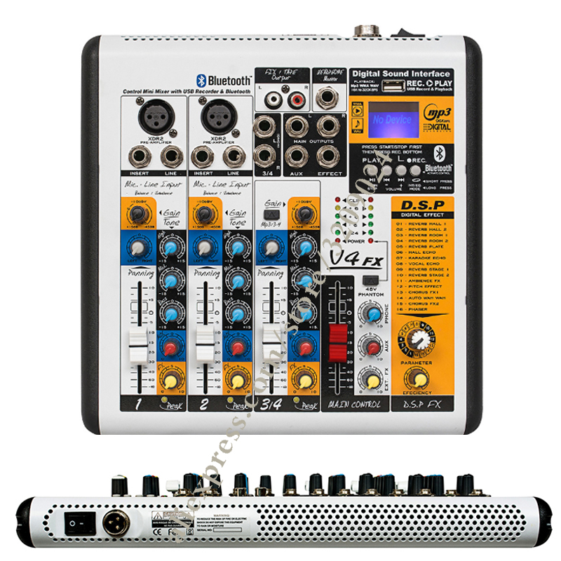 pro 4 channel digital effect microphone mixer sound power mixer usb 48v bluetooth monitor 2 in 1. Black Bedroom Furniture Sets. Home Design Ideas
