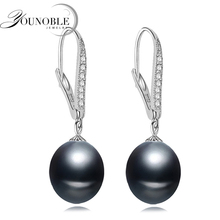 YONOBLE Beautiful pink long pearl drop earrings silver,wedding natural 925 sterling for women birthday gift white