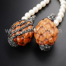 100% Handcrafted Natural Wood Pine Cone Pendant Bead Paved Zircons for Necklace for Women JAB269