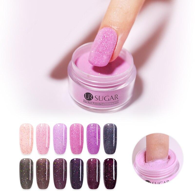 UR SUGAR Nail Dip Nail Powder Gradient Nail Glitter Base Top Coat Liquid Franch Set For Nails Art 5ml(China)