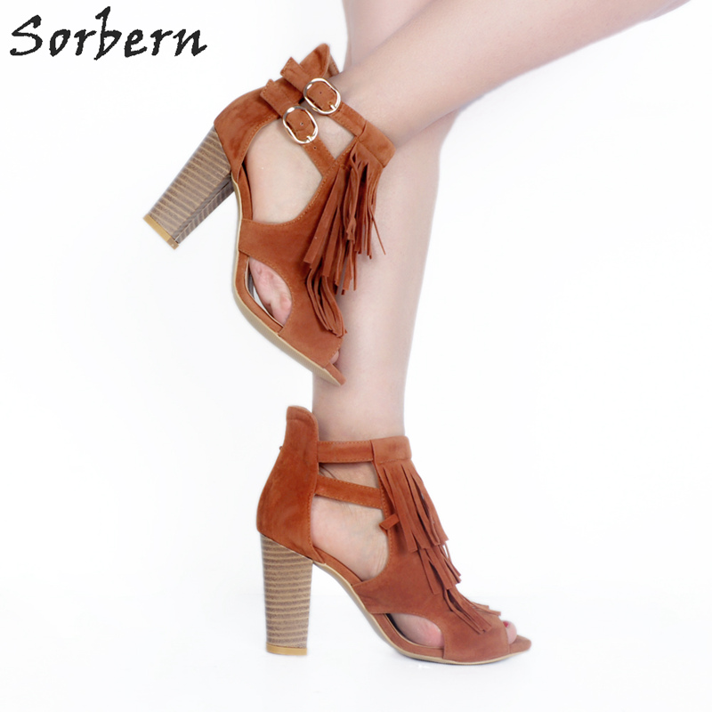 Sorbern Brown Tassel Open Toe Ankle Boots For Women Cut Out Side Shoes Ladies Chunky Heeled Cowgirl Boots For Women 34-43 sorbern sexy red ankle boots for women open toe lace up front super high heels 2018 women ankle booties cowgirl girls shoes