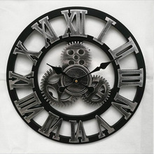 New Large Wall Clock Vintage Gear Clock American Style Living Room 3D Wall Clock Modern Design Decoration For Home Wooden Clocks