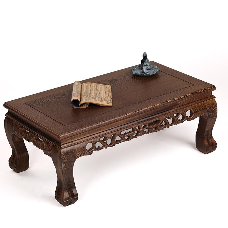 muebles de caoba de madera rectangular de madera maciza tallada patas de tigre corto mesa de