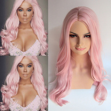 Lovely Synthetic Lace Front Wigs Cosplay Long Wavy Light Pink Wig 16″-24″  Pelucas Sinteticas For Black Women for white women