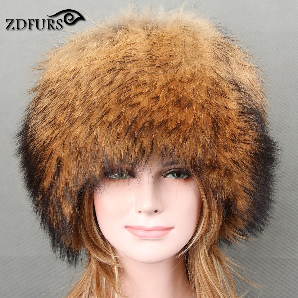 Glaforny 2017 Autumn and winter Women 's Genuine Raccoon Dog Fur Hat Real Fox Fur Hat Dome Mongolian Caps for Russian Female