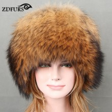 ZDFURS 2017 Autumn and winter Women 's Genuine Raccoon Dog Fur Hat Real Fox Fur Hat Dome Mongolian Caps for Russian Female