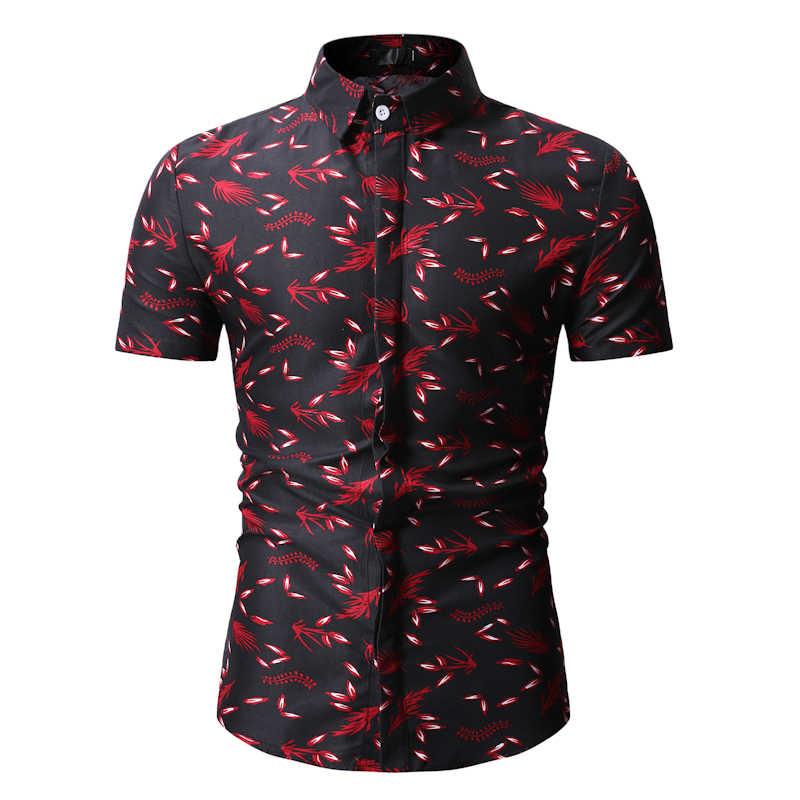 Летние пляжные Мужская гавайская рубашка 2019 Фирменная Новинка черный цветочный принт платье с короткими рукавами рубашки для мальчиков для мужчин праздник