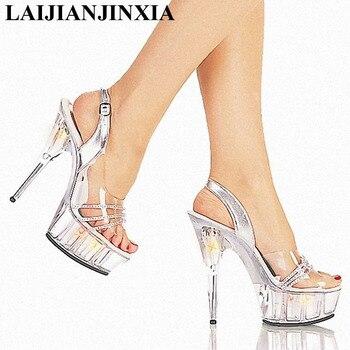 LAIJIANJINXIA Sexy 15CM High-Heeled Sandals Nightclub Dance Shoes Women's Shoes Pole Dancing Shoes 5cm Platform Sandals