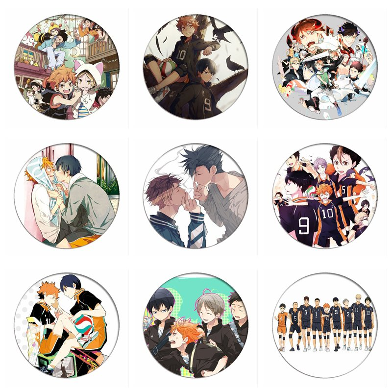 Cartoon Haikyuu!! Cosplay Badges Hinata Shoyo Brooch Pins 58mm Japan Anime Collection Bags Badge For Backpacks Clothes