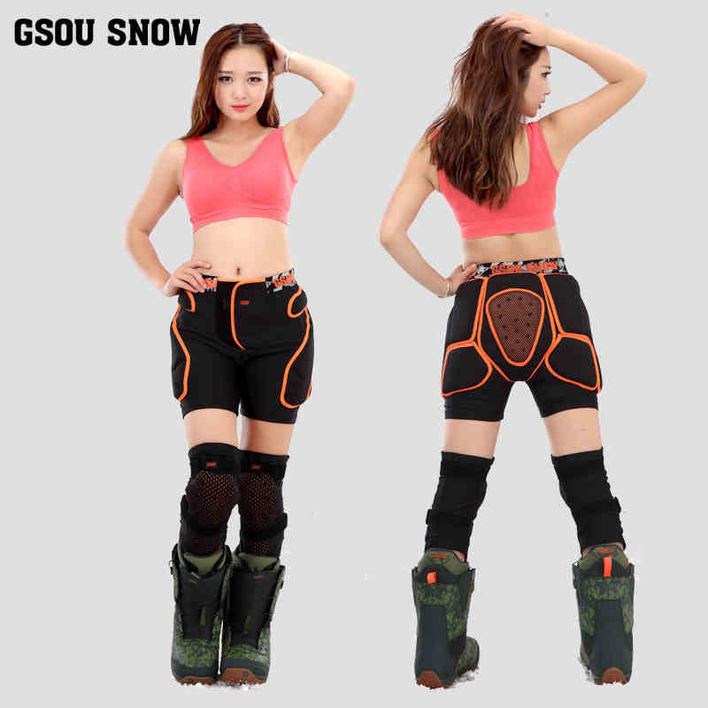 ФОТО 2016 GSOU SNOW Protective Hip Pad Shorts+Protective Knee Pads Snowboarding Impact Protection sets for Kids Adult Men Women