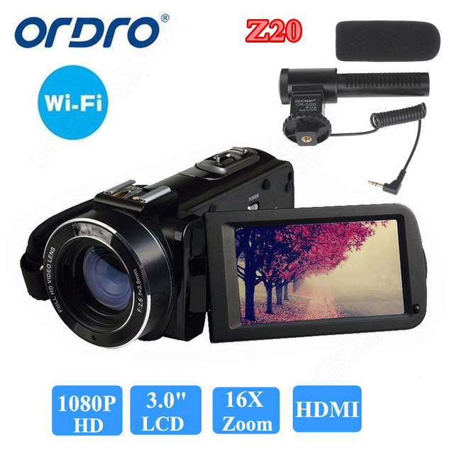 цена ORDRO HDV-Z20 1080P Full HD Digital Video Camera Camcorder 24MP 16X Zoom 3.0 LCD Screen Free shipping