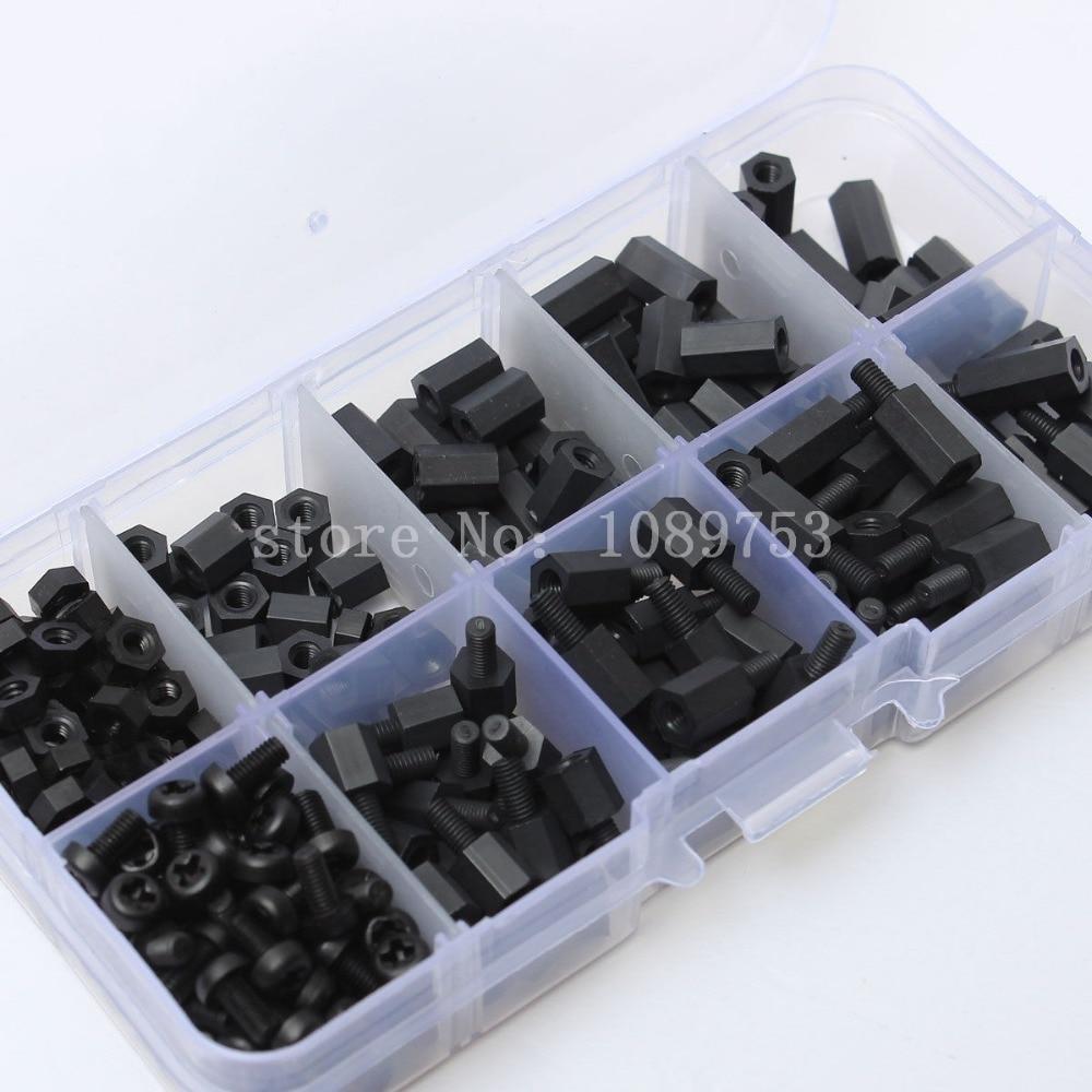 260pcs M3 Nylon Black M-F Hex Spacers Screw Nut Assortment Kit Stand-off Set