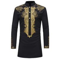 National Totem Printed Mens Dress Shirt Long Summer Style Black Man Shirt Totem Pattern Slim Fit