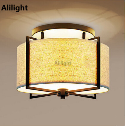 Lamparas De Techo Fabric Ceiling Light Modern Led Lamp For Living Room Lampshade Hanging
