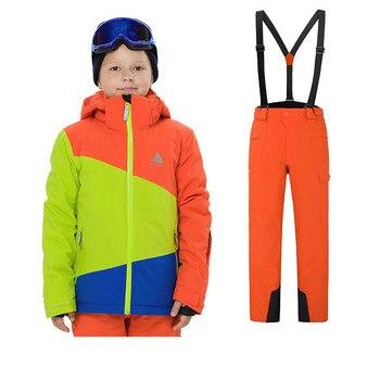a8cd58b743d Deporte al aire libre de esquí niños cálido a prueba de viento resistente al  desgaste niños y niñas individuales de esquí Snowboard chaqueta y pantalón  ...