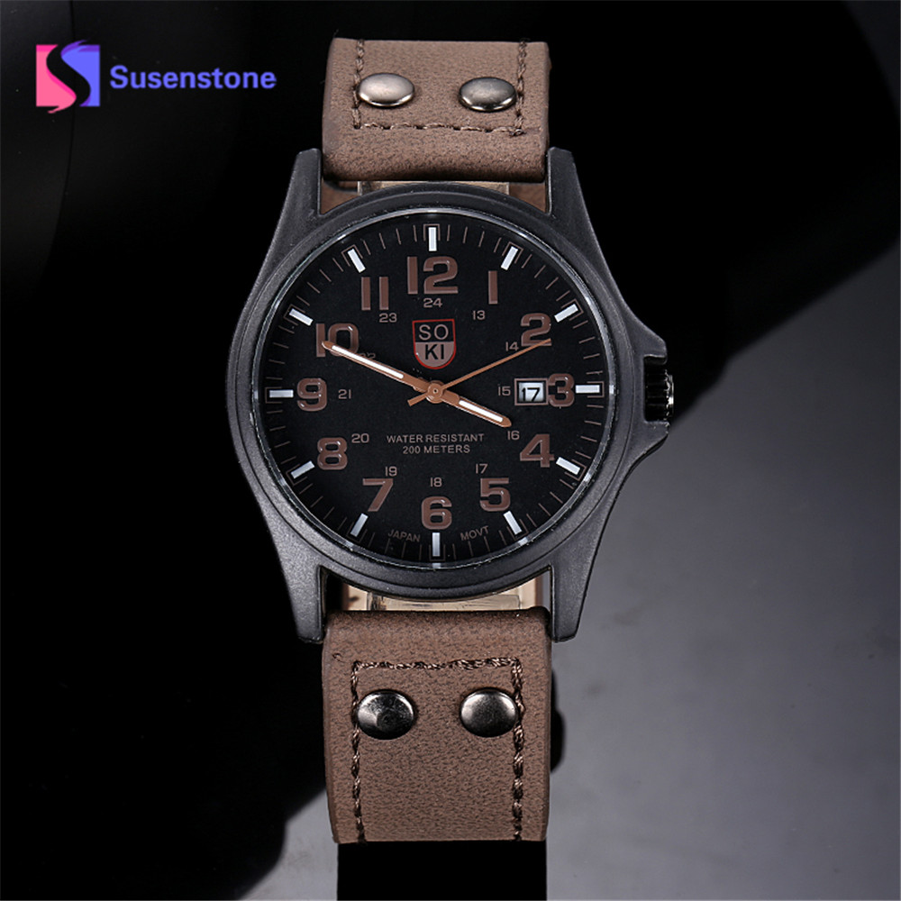 New Luxury Sport Watch Men Vintage Classic Men Waterproof Date Leather Strap Sport Quartz Army Wrist Watches Relogio Masculino