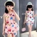 2016 летние большие девочки dress, девушка комплект одежды детей рукавов из двух частей набор princess dress 5 6 7 8 9 10 11 12 13 14 лет