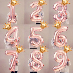 32inch Rose gold letter balloon with crown birthday wedding decoration balloon silver gold number aluminum Balon 30 18 birthday