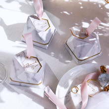 New Diamond Marble style Candy Box Wedding Favors And Gifts Party Supplies Baby Shower Paper Gift Chocolate Boxes for guests(China)