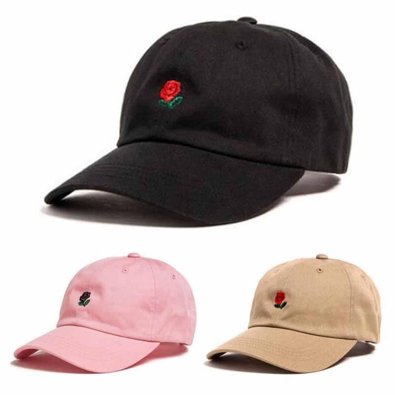 c4feef1b New 100% Cotton Rose Embroidery Cap Black Pink Baseball Cap Snapback Hip  Hop Dad Cap