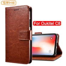 SRHE For Oukitel C8 Case Cover Flip Luxury Leather With Magnet Wallet Phone