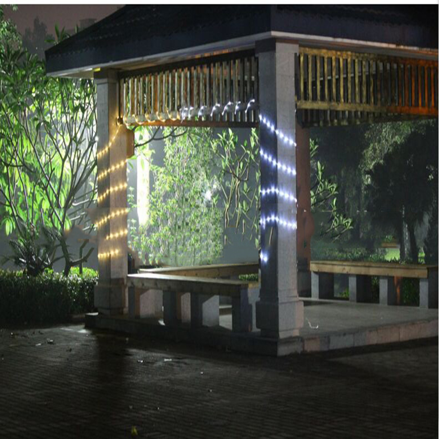 Solar powered 5 m 100led luz de