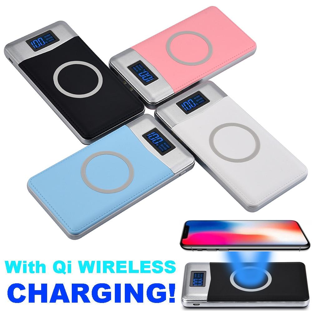10000Amh Caricatore Senza Fili Portatile 2 USB Power Bank Wireless Charging Pad 2 USB LCD LED Portable Battery Charger usb battery bank charger