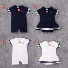 82e705bf01793 Summer Newborn Baby Girl dress Rompers Navy Sailor Uniforms Short Sleeve  One-pieces Jumpsuit Infant Baby Boy Clothing
