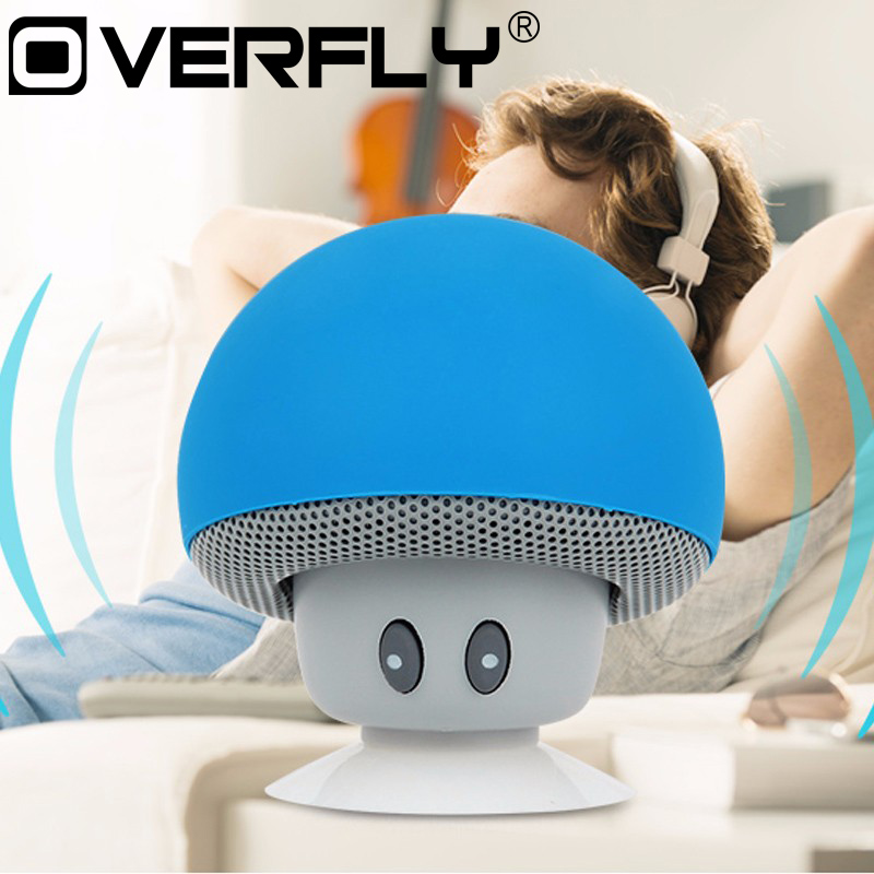 Wireless Bluetooth Speaker Mini Cute Mushroom Style Music Player Stereo Portable Speaker Loudspeaker with Suction Cup ufo shape portable mini rechargeable bluetooth v2 1 speaker black orange