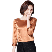 2018 New 100 Real Silk Clothing Summer Female Knitted T Shirt Loose O Neck Casual Tee
