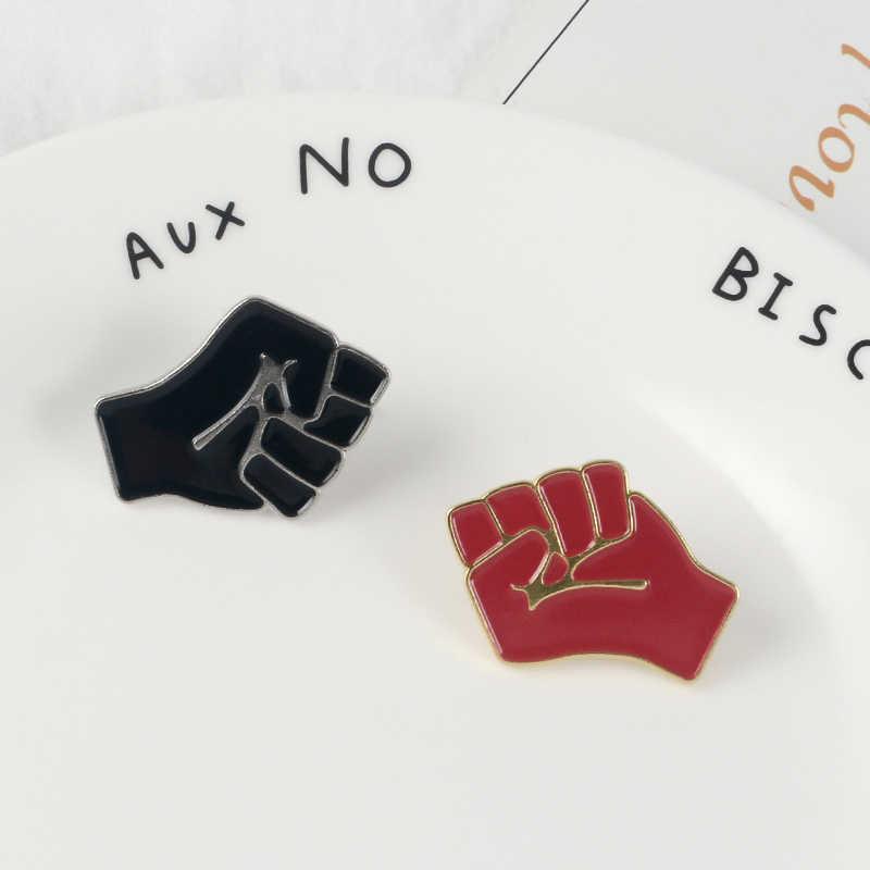 Meningkatkan Tinju Lembut Enamel Bros Hitam Merah Kerah Pin untuk Pakaian Kemeja Topi Tas Lencana Komunisme Perhiasan Hadiah untuk Teman-teman