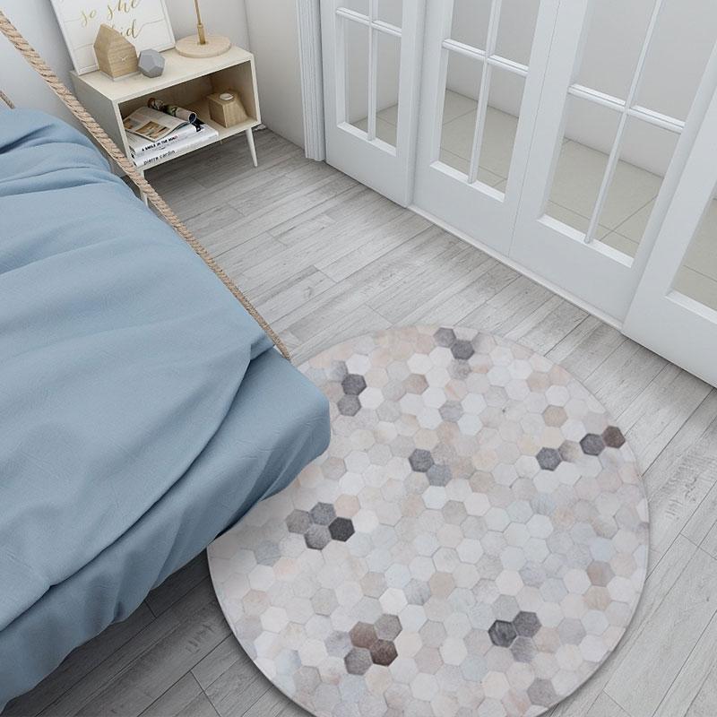 De forme ronde naturelle vache sertis tapis chambre floral peau de vache tapis personnalisé Designer doux épissage main peau de vache tapis