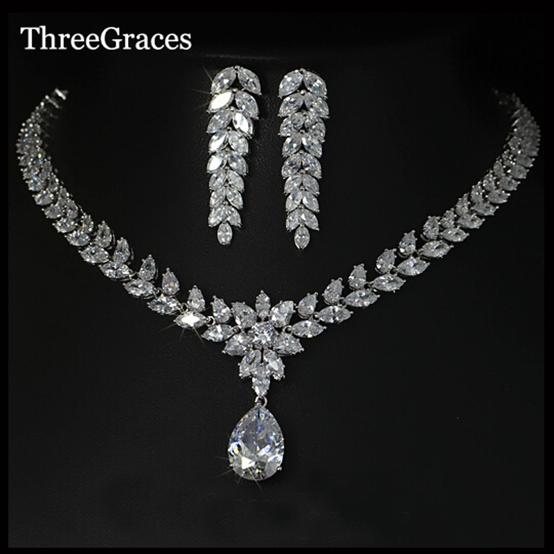 ThreeGraces Classic Long Cluster Marquise Stone Big Water Drop Women CZ Necklace And Earrings Wedding Jewelry Sets JS026