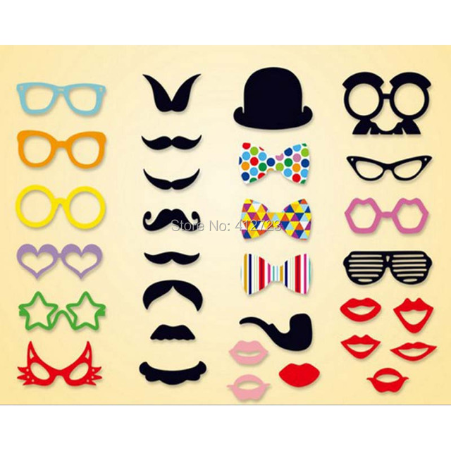 New Fashion Baby Mustache Photo Booth Props Moustache Lips Funny Rainbow Bow Tie Glasses Mask Party