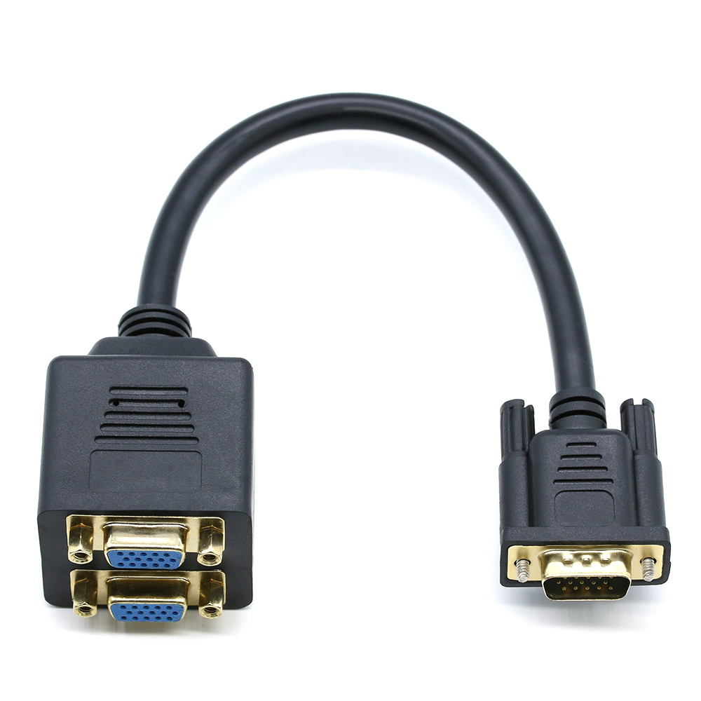 VGA Splitter Cable Male to Dual Female Converter Monitor Adapter Y Video Cable~~